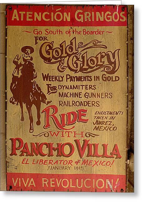 Viva Revolucion - Pancho Villa Greeting Card by Richard Reeve