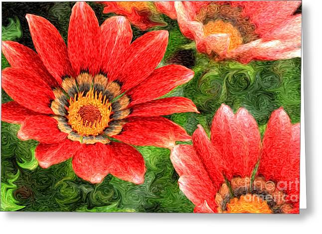 Vivid Orange African Daisy Digital Oil Painting Greeting Card