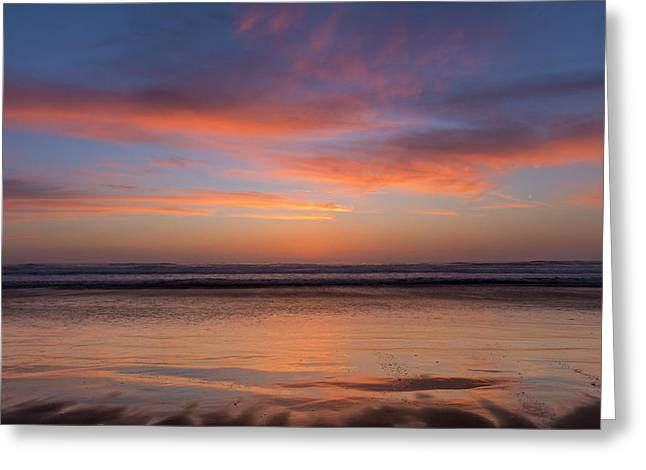 Vivid Sunset Over The Pacific Ocean Greeting Card