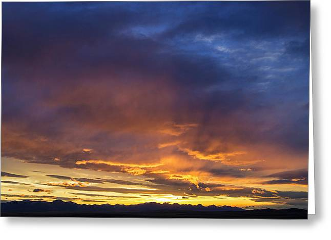 Vivid Sunset Over The Rocky Mountain Greeting Card