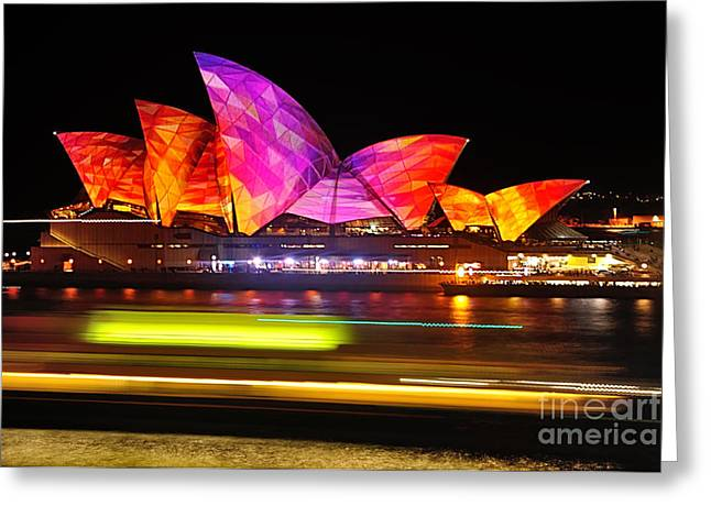 Vivid Sydney By Kaye Menner - Opera House ... Triangles Greeting Card by Kaye Menner
