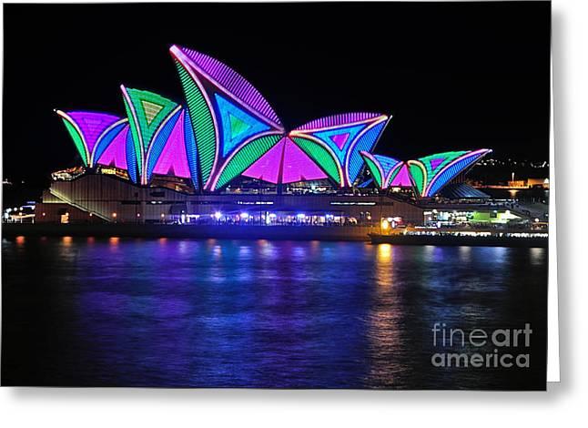 Vivid Sydney By Kaye Menner - Opera House... Patterns 2 Greeting Card by Kaye Menner