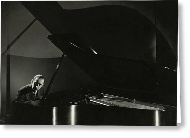 Vladimir Horowitz At A Grand Piano Greeting Card by Edward Steichen