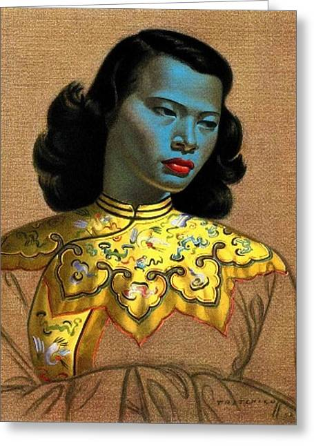 Vladimir Tretchikoff's 'the Chinese Girl, The Green Lady' Greeting Card