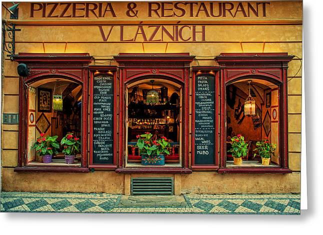 Vlaznich Pizzeria And Restaurant. Prague Greeting Card by Jenny Rainbow
