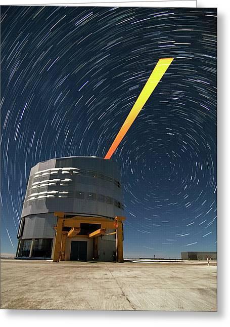 Vlt And Laser Guide Under Star Trails Greeting Card