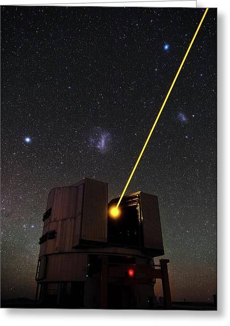 Vlt And Laser Guide Under Stars Greeting Card by Eso/b. Tafreshi (twanight.org)