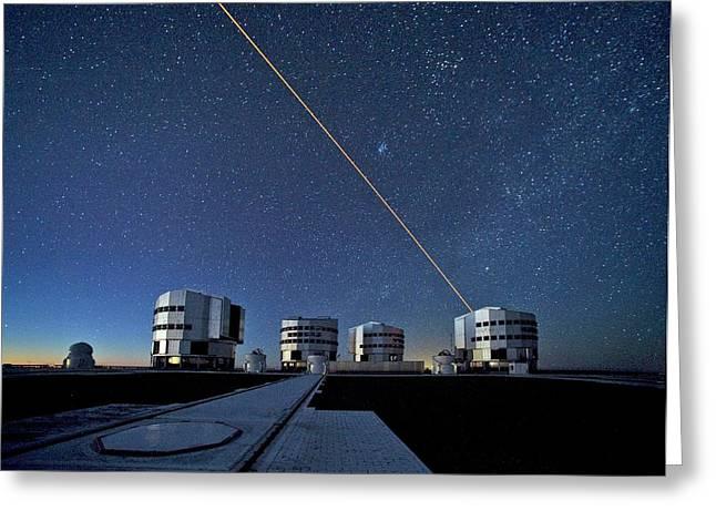 Vlt And Laser Guide Under Stars Greeting Card