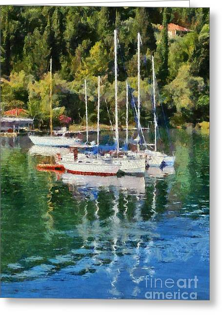 Vlychos Bay In Lefkada Island Greeting Card by George Atsametakis