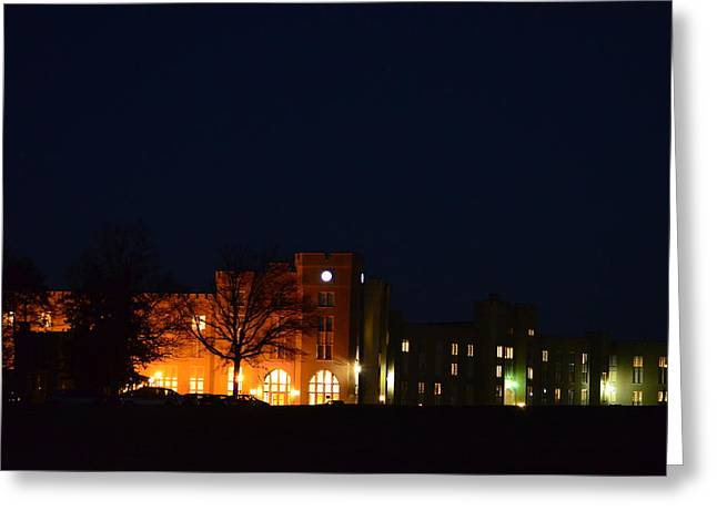 Greeting Card featuring the photograph Vmi Night Lights by Cathy Shiflett