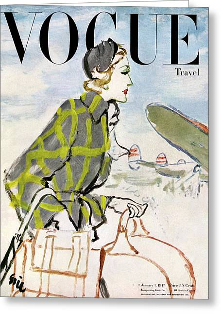 Vogue Cover Featuring A Woman Carrying Luggage Greeting Card by Carl Eric Erickson