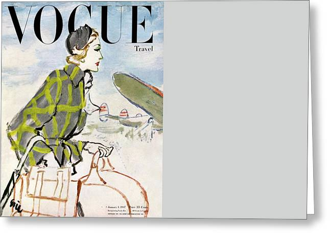 Vogue Cover Featuring A Woman Carrying Luggage Greeting Card by Carl Oscar August Erickson