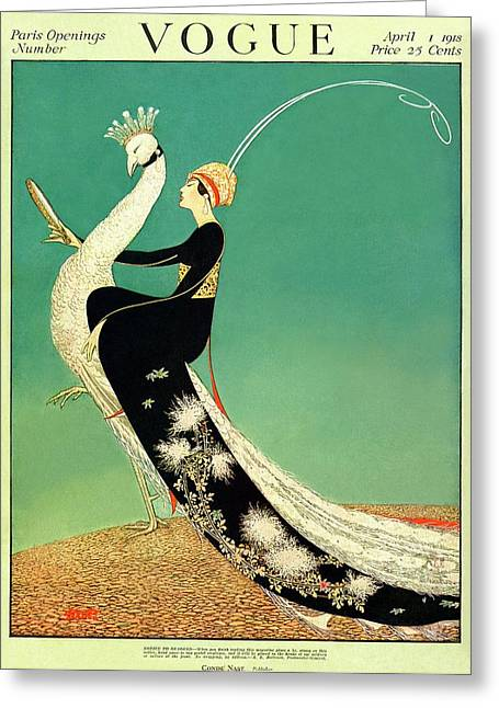 Vogue Cover Featuring A Woman Sitting On A Giant Greeting Card by George Wolfe Plank