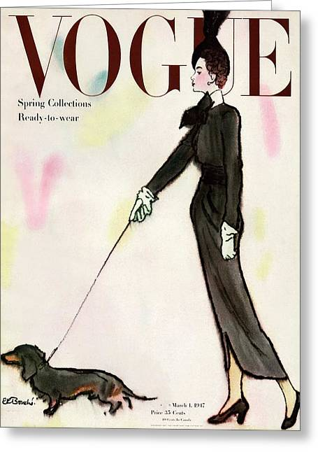 Vogue Cover Featuring A Woman Walking A Dog Greeting Card by Rene R. Bouche