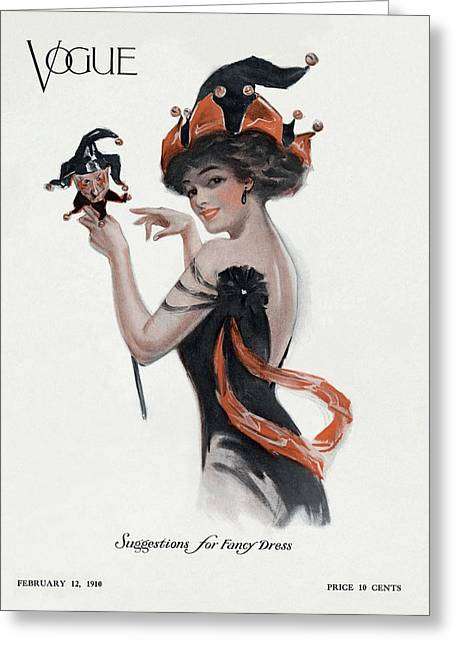 Vogue Cover Featuring A Woman Wearing A Jester Greeting Card by  Unknown