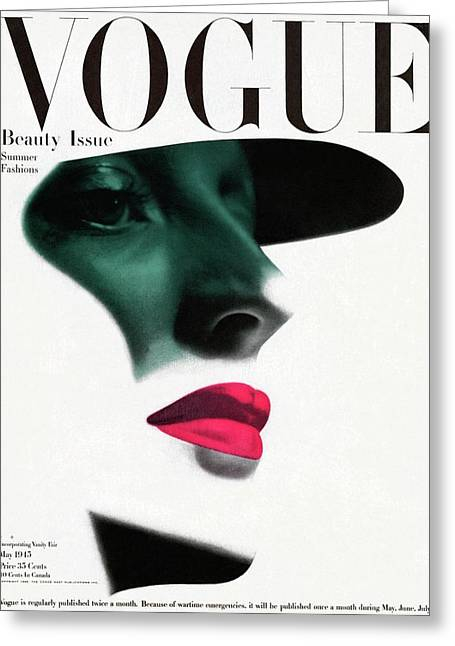 Vogue Cover Featuring A Woman's Face Greeting Card by Erwin Blumenfeld