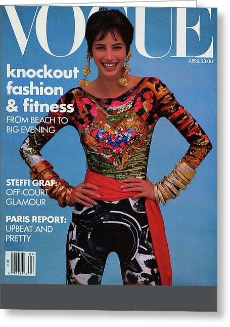 Vogue Cover Featuring Christy Turlington Greeting Card by Patrick Demarchelier