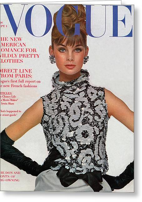 Vogue Cover Featuring Jean Shrimpton Greeting Card by Bert Stern