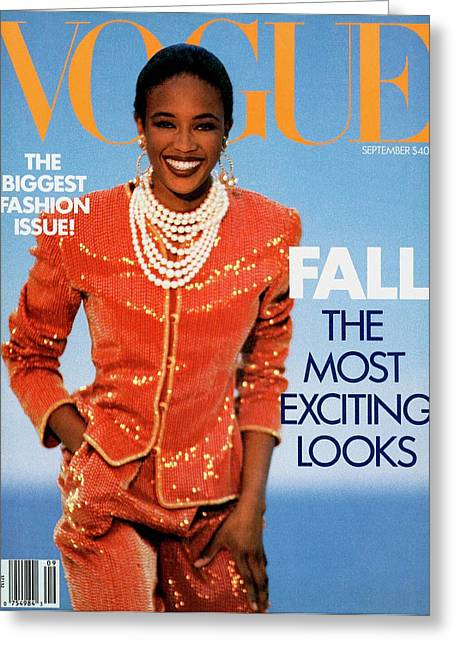 Vogue Cover Featuring Naomi Campbell Greeting Card by Patrick Demarchelier