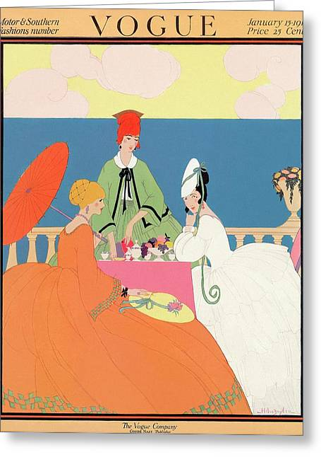 Vogue Cover Featuring Women Dining By The Seaside Greeting Card by Helen Dryden
