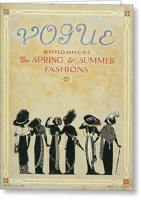 Vogue Cover Illustration Featuring Six Female Greeting Card by Jessie Gillespie