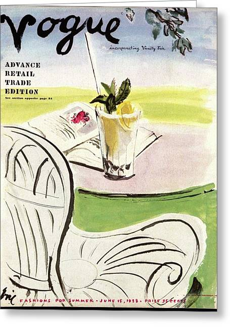 Vogue Cover Illustration Of A Beverage And Book Greeting Card by Carl Eric Erickson