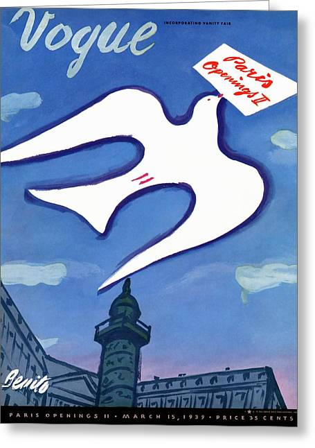 Vogue Cover Illustration Of A Dove Holding A Sign Greeting Card by Eduardo Garcia Benito