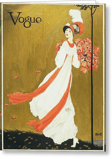 Vogue Cover Illustration Of A Woman Carrying Greeting Card by George Wolfe Plank