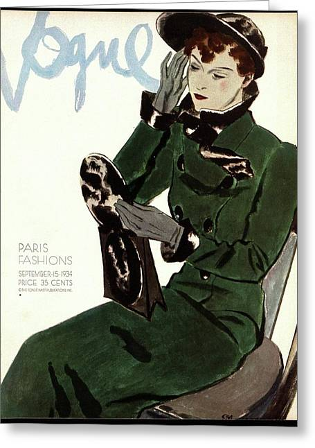 Vogue Cover Illustration Of A Woman In A Green Greeting Card by Pierre Mourgue
