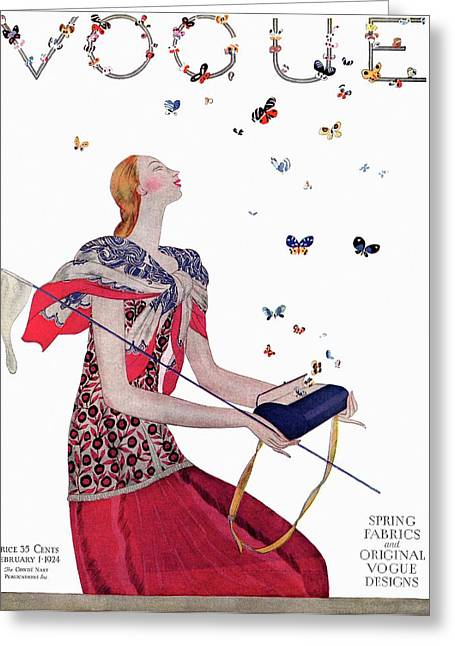 Vogue Cover Illustration Of A Woman Releasing Greeting Card by Eduardo Garcia Benito