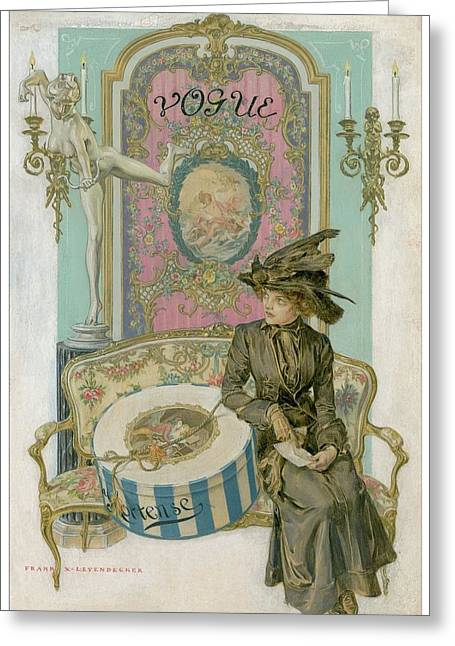 Vogue Cover Illustration Of A Woman Sitting Greeting Card by Frank X. Leyendecker