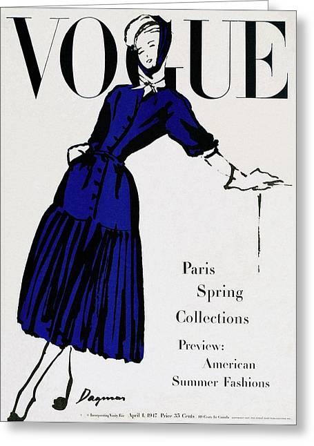 Vogue Cover Illustration Of A Woman Wearing Blue Greeting Card by  Dagmar