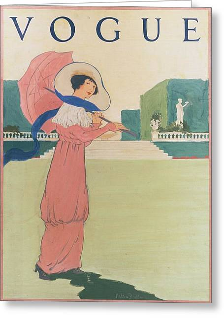 Vogue Cover Illustration Of A Woman Wearing Greeting Card by Helen Dryden