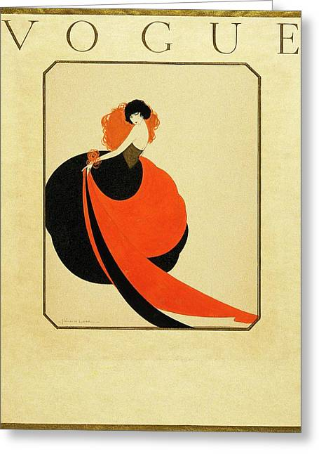 Vogue Cover Illustration Of A Woman Wearing Greeting Card by Reinaldo Luza