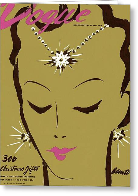 Vogue Cover Illustration Of A Woman Wearing Star Greeting Card by Eduardo Garcia Benito