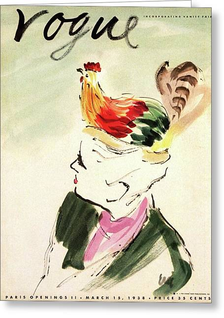 Vogue Cover Illustration Of A Woman With A Hen Greeting Card by Carl Oscar August Erickson