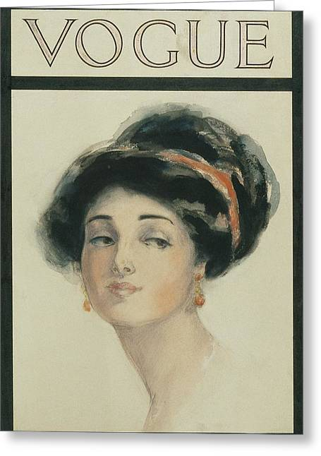 Vogue Cover Illustration Of A Woman With Black Greeting Card by Helen Dryden