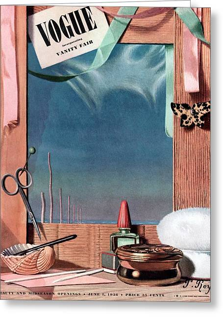 Vogue Cover Illustration Of Cosmetics In Front Greeting Card by Pierre Roy