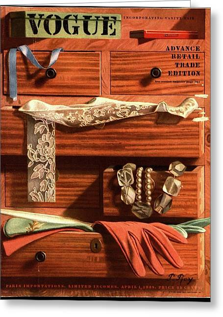 Vogue Cover Illustration Of Drawers Open Greeting Card by Pierre Roy