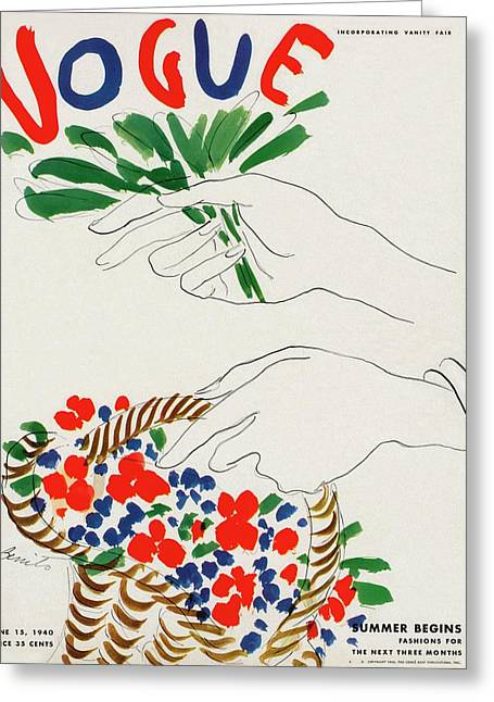 Vogue Cover Illustration Of Hands Holding Greeting Card by Eduardo Garcia Benito