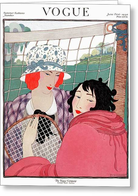 Vogue Cover Illustration Of Two Women In Front Greeting Card by Helen Dryden