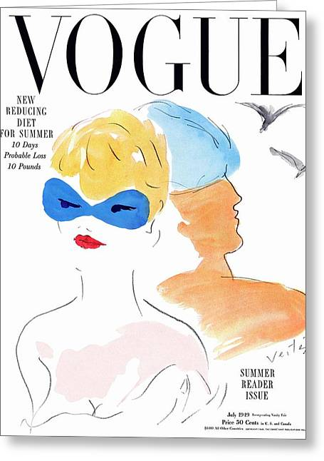 Vogue Cover Illustration Of Two Women Standing Greeting Card by Marcel Vertes