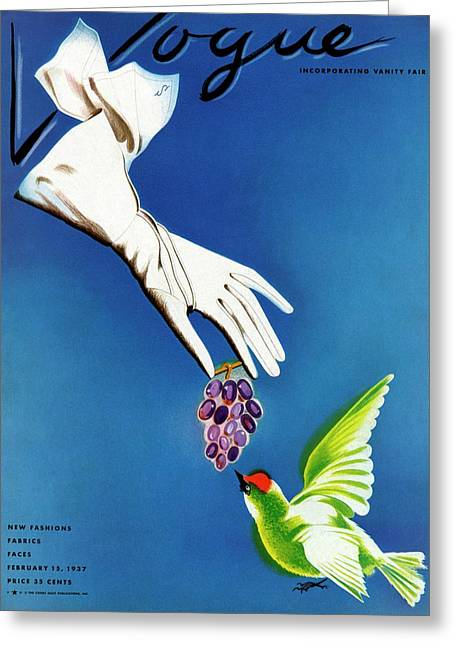 Vogue Cover Illustration Of White Gloves Greeting Card by Raymond de Lavererie