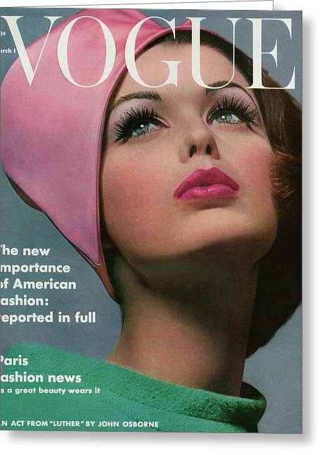 Vogue Cover Of Dorothy Mcgowan Greeting Card by Bert Stern