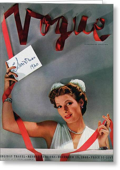 Vogue Cover Of Helen Bennett Wearing Tiffany & Greeting Card by John Rawlings
