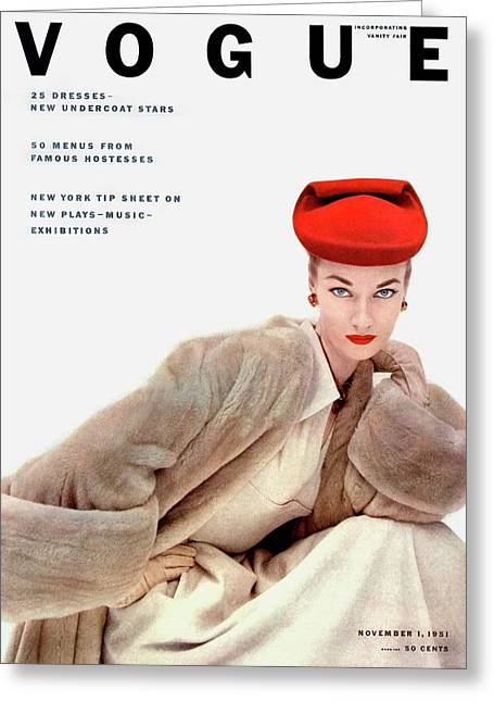 Vogue Cover Of Janet Randy Greeting Card by Clifford Coffin