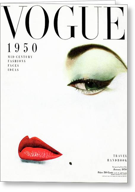 Vogue Cover Of Jean Patchett Greeting Card by Erwin Blumenfeld