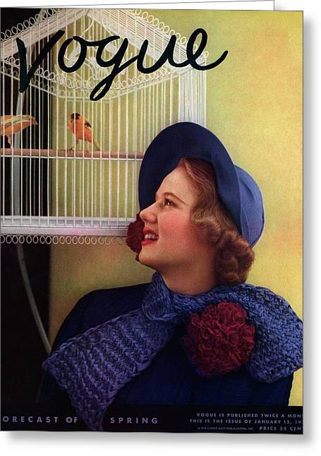 Vogue Cover Of Model Looking At Bird Cage Greeting Card by Edward Steichen