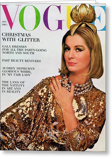 Vogue Cover Of Sandra Paul Greeting Card by Bert Stern