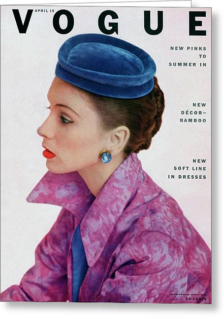 Vogue Cover Of Suzy Parker Greeting Card by John Rawlings